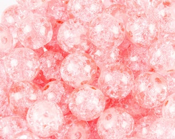 50 pink Crackle glass beads