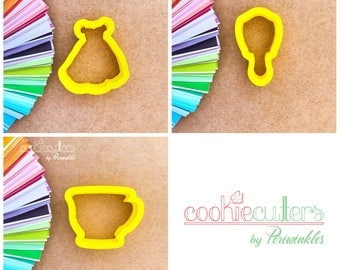 Princess Dress Cookie Cutter - Tea Cup Cookie Cutter - Mirror Mirror Cookie Cutter - Princess - The Beauty and the Beast - Periwinkles - 3D