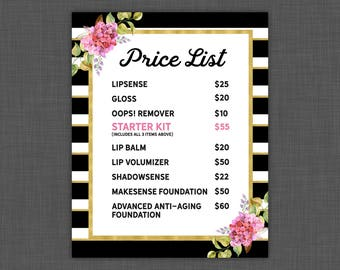 LipSense Price List - LipSense Prices - Floral With Stripes - Pricing Sheet 8x10