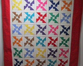 """Hand Made Baby Quilt, Crib Quilt, Baby Blanket, Handmade Quilt - Primary colored Propellers, Primary Colors - approx 39"""" x 45"""""""