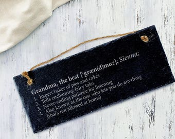 Engraved Slate Plaque - Definition of the Best Grandma and the Best Grandma - Hanging Door Sign - Gift for Grandparents - Christmas Gift
