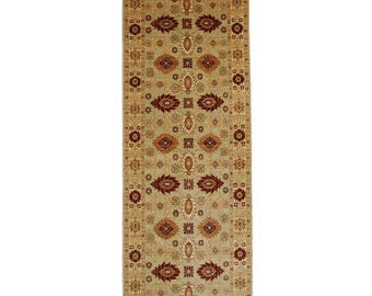 RugsinDallas Persian Style Hand-Knotted Wool Rug- 4′2″ × 22′5″ Yellow, Burgundy # 13737