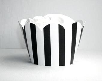 NEW!  Black & White Stripe Cupcake Wrappers- birthday party decor, baby showers, weddings, parties-(Set of 12+) Wrap your cupcakes in style!
