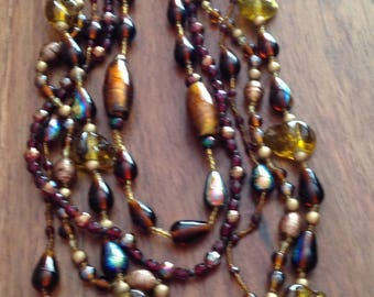 Vintage Glass Bead Necklace in Jewel Tones