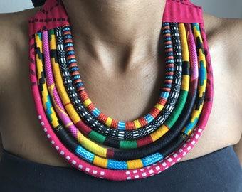 Multicolored necklace Maasai wax