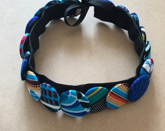 Multicolor Choker 2 in 1 in African fabric