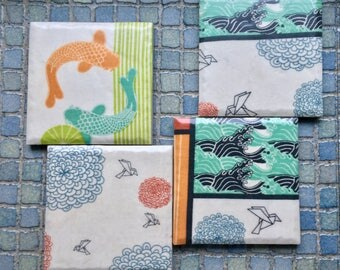 Koi and Origami Inspired Coaster Set Just Waiting for That Perfect Cup of Tea
