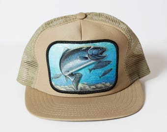 Vintage Snapback Trout Fish Fishing Trucker Hat Snap Back 3D - 80's Retro Hunting Made in USA