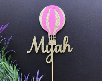 Personalised Hot Air Balloon Cake Topper or Cupcake Toppers- Up Up and Away cake Topper/balloon cake topper/Hot Air Balloon Topper/Hot Air