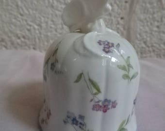 Very Pretty Royal Worcester Bell with Butterfly on Top,Fine Bone China/Forget me not/Collectable/Vintage/1980s