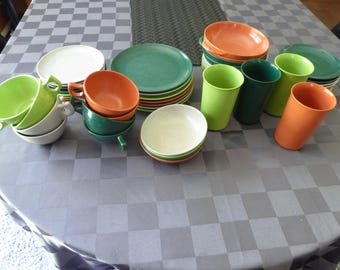Mid Century Branchell Color Flyte Melmac Lot - 55 Pieces