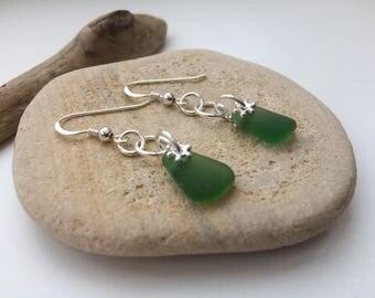 Sea Glass Earrings, Sterling Silver Earrings