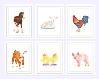 Nursery Decor Farm Animals, Nursery Wall Art, Watercolor Nursery Decor, Baby Farm Animals, Nursery Animal Prints, Farm Nursery Decor artwork