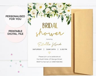 Floral bridal shower invites, Elegant Hens party invitations, Bridal shower invitations, Floral Bachelorette party invitations Hens invites