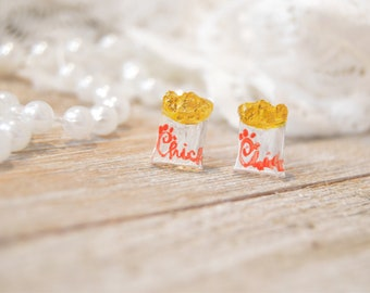 Waffle Fries Earrings | Handpainted | Fries | Handmade Jewelry | Earrings | Stud Earrings | Acrylic