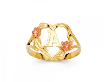 14K Solid Yellow Rose Gold Heart Initial Letter Ring - A-Z Any Alphabet Flower Finger Band