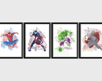Gentil Superhero Watercolor Print Set Spiderman Captain America Hulk Thor Avengers  Set Marvel Wall Art Decor Set