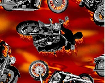 Motorcycle Anti-Pill Fleece Fabric fabric by the yard/David Textiles/Free shipping available/Your Fleece/Harley Davidson