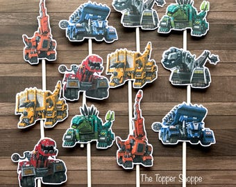 DINOTRUX Cupcake Toppers / Cake Toppers / Die Cuts / Birthday Party / Decorations / Cake Pops / Supplies / Decor / Fast Shipping