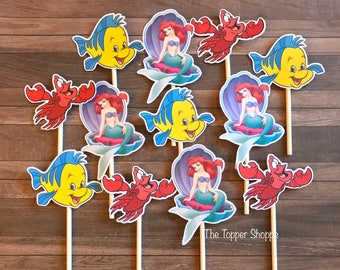 LITTLE MERMAID Cupcake Toppers / Cake Toppers / Die Cuts / Birthday Party / Decorations / Cake Pops / Supplies / Decor / Fast Shipping