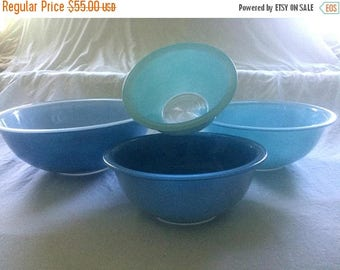 Christmas In July Sale Pyrex Blue Nesting Bowls, Set of Four, Shades of Blue, Clear Bottoms, Vintage Kitchen Serving, Glass Bakeware