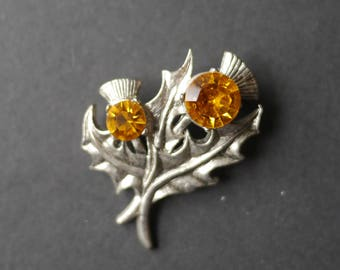 Scottish thistle flower brooch silver tone with orange citrine stones