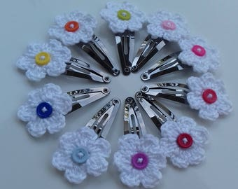 Handmade set of 10 crochet flowers hair clips