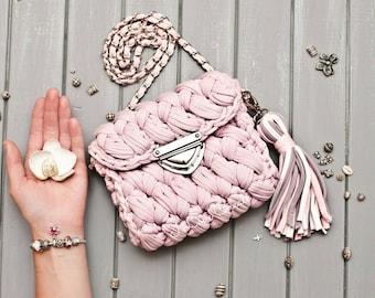 Clutch Marshmallow/ Clutch crochet/ Summer handbag over the shoulder/ Handbag/ Mini Pink Bag