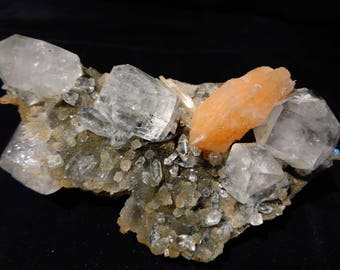 apophyllite crystal with stilbite on chalcedony  #Gesi-32