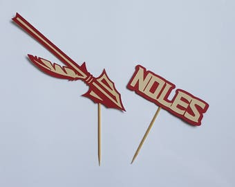 Florida State Spear and Noles cupcake toppers, set of 12.