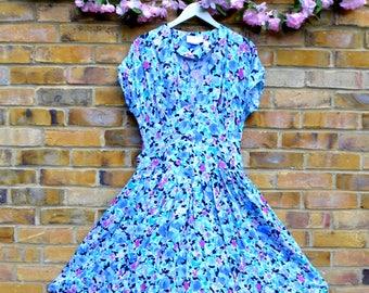 Bright Blue Floral Dress