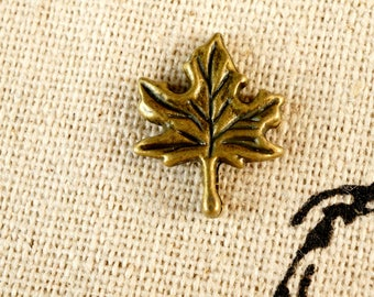 Maple leaf small bronze charm vintage style jewellery supplies