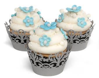 Decorative Cupcake Wraps - Silver