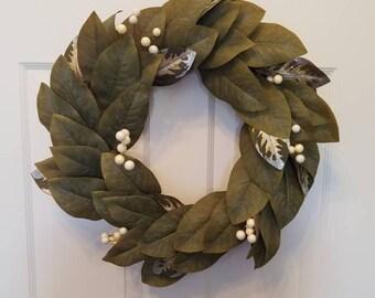 Fall wreath/ autumn wreath/ magnolia wreath/ holiday wreath/ housewarming wreath/ summer wreath