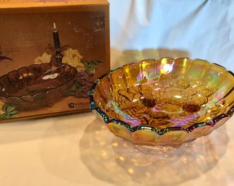 Indiana Glass Iridescent Gold Carnival Glass oval center bowl