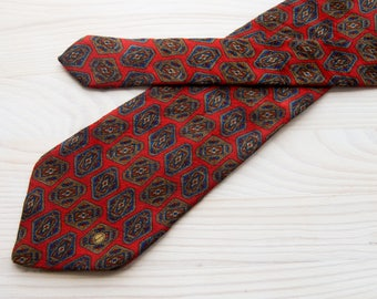 Dunhill red silk mens neck tie Vintage Geometric pattern necktie  Made in Italy