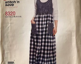 "Pattern McCalls  easy ""stitch n save"" women's jumper pattern 8320"