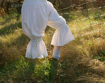 Tumbleweed Bloomers - Cream 100% Cotton Muslin - Prairie Pantaloons Pants - Adult / Women's Custom-Made - Moth & Rust Handmade in Kansas