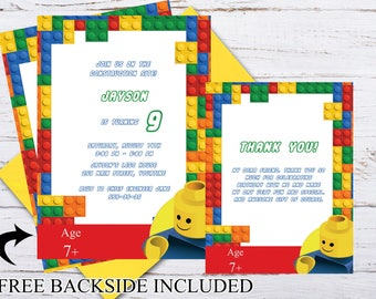 Custom Building Blocks Birthday party Invitation, Thank you Cards, Colorful Blocks Invitation, Bricks Birthday DOWNLOAD ;20000413