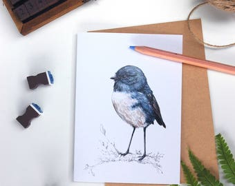 NZ Robin - Toutouwai folded card from the New Zealand native birds series by Emilie Geant, from original watercolor painting