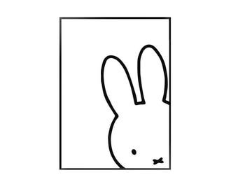 Miffy print / monochrome miffy / black and white nursery print