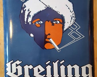 """Original Vintage Enamel Porcelain Sign Cigarettes """"Greiling"""" 1930s"""