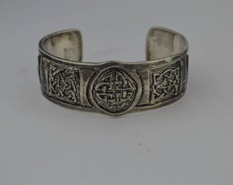 Sterling Silver 925 Celtic Trinity Knot/triquetra/charmed/book Of Shadows Cuff Bracelet