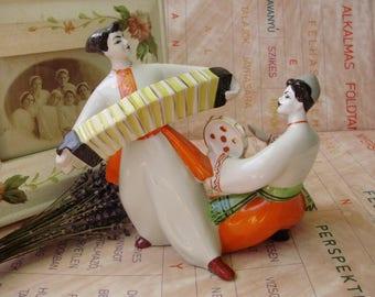 Large,Vintage  Russian Kiev porcelain figurine,DANCING MUSICIANS,COSSACKS,handpainted,stamped