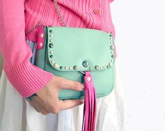 Leather crossbody bag Small shoulder bag with metal chain Womens handbag Chain shoulder purse Minimalist bag Long strap purse