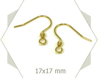 12 hook of stainless steel gold AC17 earrings