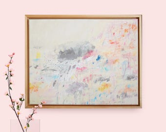 In This Dream: Original Painting, 12x16, Abstract Expressionist, Cy Twombly Inspired, Stretched Canvas, Framed wall art, Painting on Canvas