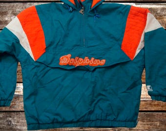 Vintage 90s Miami Dolphins Starter Teal Pullover Jacket Size XL For Fans of The Phins, Vintage Miami, Vintage Jackets, or the 1990s