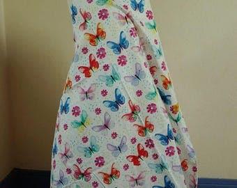 Fabric cotton 100 flowers butterflies cmx110cm