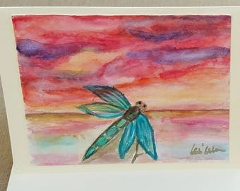 Dragonfly watercolor, Dragonfly wall art, Dragonfly painting, blank thank you card, all occasion cards, blank greeting cards, handmade cards